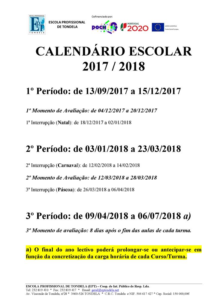 Calendário Escolar 17-18