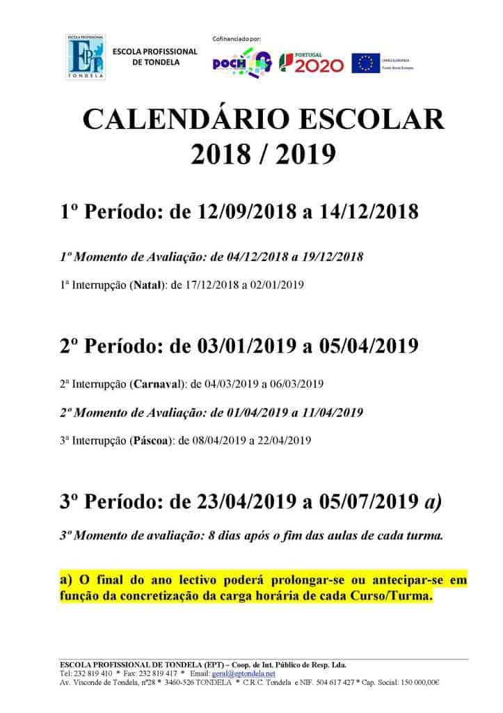 Calendário Escolar 18-19