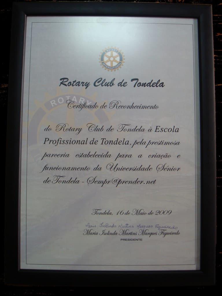 Certificado de Reconhecimento do Rotary Club de Tondela