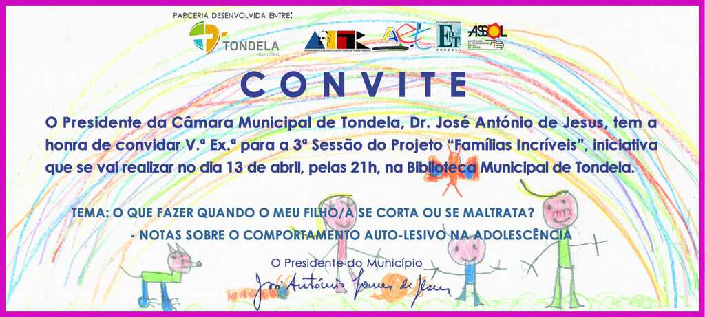 Convite Famílias Incríveis - 13 de Abril